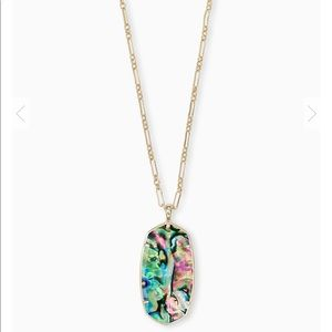 Faceted Reid Gold Long Pendant Necklace In Abalone